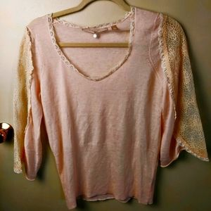 Knitted and knotted anthro sweater light pink